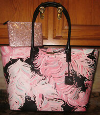 KATE SPADE BRIGHTWATER DRIVE JULES ROYAL PLUME PINK + POUCH CLUTCH TOTE PURSE