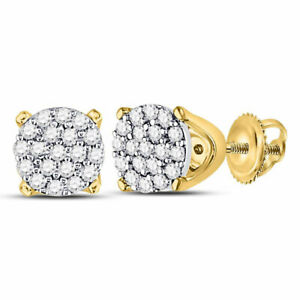 10k Yellow Gold Womens Round Diamond Cluster Fashion Earrings 1/8 Cttw