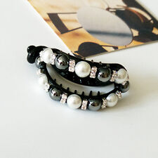 Women Beautiful Pearls Hair Clips Banana Clips Claw Clamps Ponytail Holder