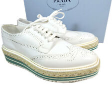 Prada White Espadrill Lace Up Wing Tip Oxford Platform Wedge Flat Shoe 39 Loafer
