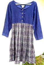 Vtg grunge 90S Purple Spring Corduroy Top Soft Plaid Flare Dress Ties S M Women