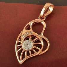 Beautiful New 18K Rose Gold Filled Clear White Round CZ Heart Pendant Necklace