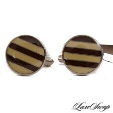 NWT Anonymous Made in Italy Silver Metal Ecru Wine Striped Button Cufflinks #2