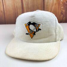 Pittsburgh Penguins VTG Corduroy Snapback Hat White NHL Universal Ind USA 90's