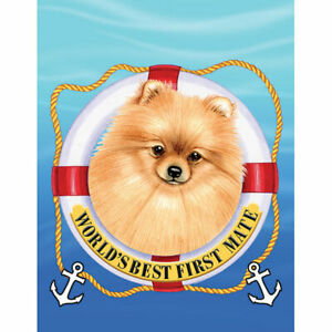Pomeranian Red World's Best First Mate Decorative Flag