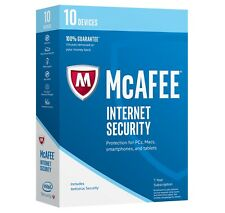 McAfee Internet Security 10 Devices 1 Year! Antivirus! 2017 Free Upgrade to 2018