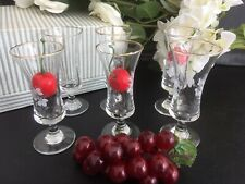 Boxed Set 6 Etched Retro/Vintage Small Sherry Schooners 50s/60s