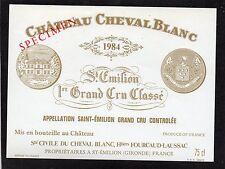 SAINT EMILION 1ER GCC VIEILLE ETIQUETTE CHATEAU CHEVAL BLANC 1984 §18/04/17§