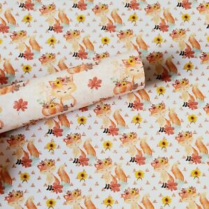 A4 Autumn Fox Leaf Sunflower Pumpkin Canvas Fabric Sheet for Bow Making, Crafts