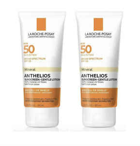 2 Pack La Roche-Posay SPF 50 Body & Face Mineral Anthelios Sunscreen 3 oz Each
