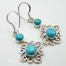 """925 Solid Silver 5x5 mm & 7x7 mm Round Cabochon Turquoise Gem 1.5"""" Earrings"""