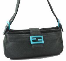 Authentic FENDI Mamma Baguette Shoulder Bag Canvas Leather Green A5054