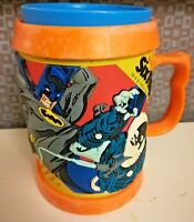 Six Flags Batman & Villain DC Comics Plastic Raised Mug Stein Orange No Lid 1998