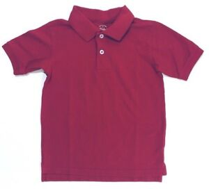 Faded Glory Boys Solid Button Polo Short Sleeve Shirt Cotton Red Size XS 4-5