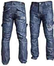 Branded Crosshatch Mens Cargo Jeans Dark Wash Sizes -w30-w38 38 32