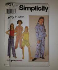 Simplicity 8929 Size 7-14 Girls' Pajamas