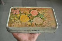 Vintage Pokar Sweets Flower Print Ad Litho Tin Box