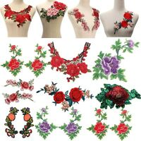 Rose Flower Lace Motif Collar Sew Patch Embroidered Bust Dress Applique Badge