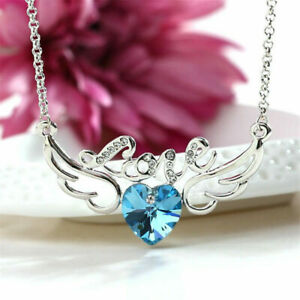 Fashion Crystal Rhinestone Lake Blue Angel Wings Charm Silver Pendant Necklace