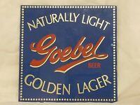 Vintage Goebel Beer Naturally Light Golden Lager Reverse Glass Sign Detroit Brew