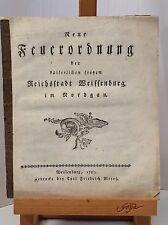 FEUERODNUNG DER KAISERLICHEN FREYEN REICHSTADT WEIßENBURG IM NORDGAU 1787