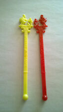 2 Howard Johnson Swizzle Sticks Drink Stirrers Red & Yellow Plastic 6 Inches