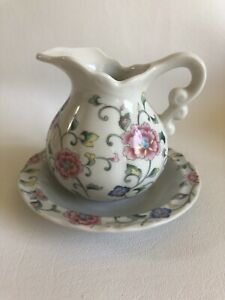 Small Pitcher and Bowl Set  Pink and Blue Flowers Unbranded Made In Japan