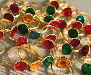 NEW gem rings Lot of 185 Colorful Jewelry Kid's Children's Birthday Toy Trinkets