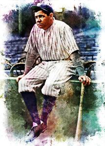 Babe Ruth New York Yankees 4/10 Limited Fine Art Print Card By:Q