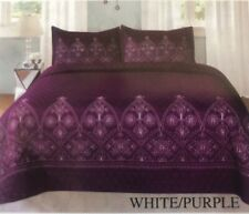 FLOWERS WHITE/PURPLE EMBROIDERED BEDSPREAD COVERLET SET 3 PCS QUEEN SIZE