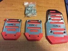 RED JDM Racing Foot Brake Clutch Pedal Pad Honda Civic S2000 Type R EVO WRX STI