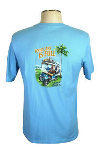 """Tommy Bahama Men's M, """"Your Cart Is Full"""" Blue T-Shirt, Golf Cart, Bags"""
