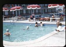 1955 photo slide Sea scape Motel Ocean City MD swimming pool bathing cap cars