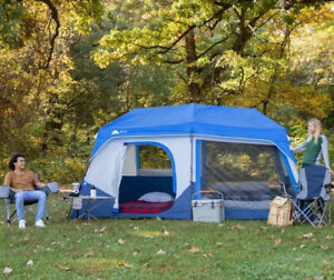 NEW OZARK TRAIL 10 PERSON INSTANT CABIN TENT WITH LED LIGHTED POLES 7 WINDOWS