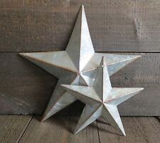 "Galvanized Primitive Rusty Metal Stars 6"" & 10"" Lot Country Tin Barn Americana"