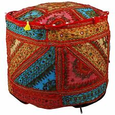"18"" Bohemian Patch Work Embroidered Ottoman Vintage Indian Pouf Cover"