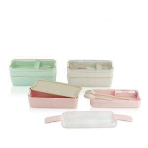2 Layer Lunch Box Spoon Dinnerware Bento Box Microwave Food Storage Container