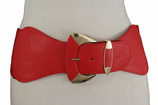 Women Red Elastic Fashion Belt Hip High Waist Gold Metal Buckle Wide Band S M