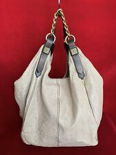 Givenchy Beige Distressed Leather Hobo Bag W/ Brown Leather Handles & Gold Chain