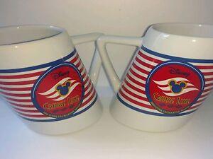 2 Disney Cruise Line Coffee Mugs Collectible Travel Souvenir Ship Boat Tea 8 oz