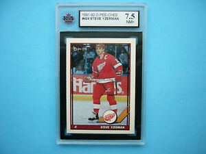 1991/92 O-PEE-CHEE NHL HOCKEY CARD #424 STEVE YZERMAN KSA 7.5 NM+ SHARP+ OPC