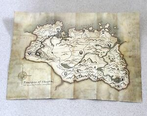 Canvas Parchment Style Map Only For The Elder Scrolls V Skyrim Original Official