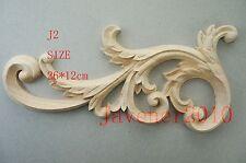 26*12cm Wood Carved Corner Onlay Applique Frame Cabinet Unpainted J2