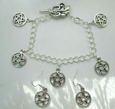 Wicca 5 Charm Bracelet+earring set - pentacle pentagram pagan jewellery silver