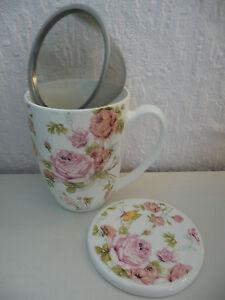 """Schöne 3-tlg. TEE-TASSE """"ROSE"""", aus Porzellan mit Sieb u. Deckel,11cm,300ml, NEU"""