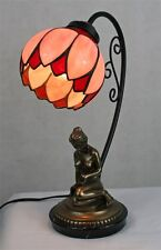 Brand New Decorative Reading Lady Lamp Base With Pink Bent Staind Glass Shade