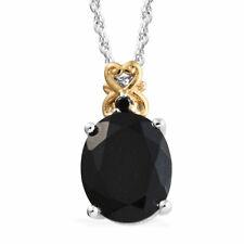 "Silver Platinum Plated Tourmaline Black Spinel Pendant Necklace 20"" Ct 3.9"