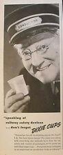"""1944 WWII Ice Cream Dixies """"Cup"""" Dairy Railroad-Train Conductor Memorabilia AD"""