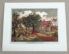 Vintage Currier and Ives American Homestead Autumn Color Foil Etch Print