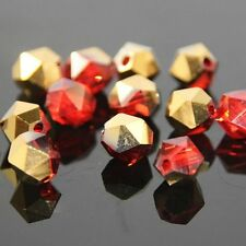 12 Pcs Swaro-element  6mm split facet Crystal beads A RED+yellow Plated